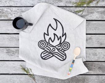 Hand printed Linen Tea Towel, Campfire, Black Ink on 18 x 24 Natural Linen