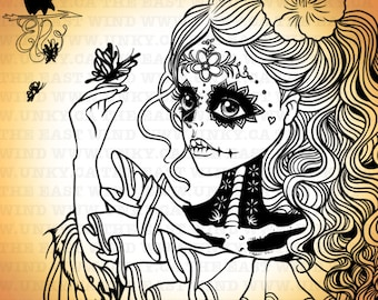 Digital stamp- 'Day of the Dead' -300dpi jpeg/png files - MAC0219
