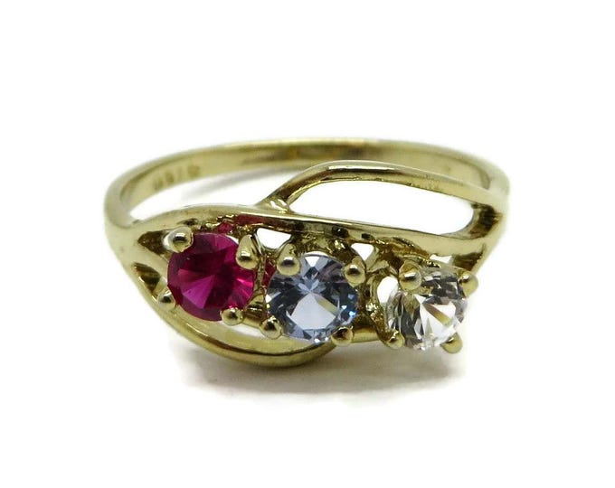 Vintage Sterling Silver Ring, Multistone Ring, Gold Plated Pink, Blue, Clear Stone Ring, Sample Ring