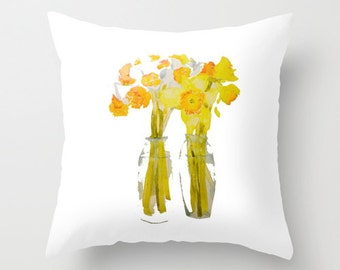 Indoor pillow cover with pillow insert, Indoor Pillow Cover, Daffodils