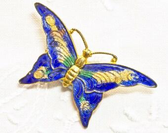 Art Deco Stratton Cobalt Blue Enamel Butterfly Brooch/Pin to Renovate, Repurpose, Repair