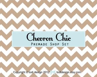 Aqua Chevron Chic -  Premade Etsy Shop Banner set
