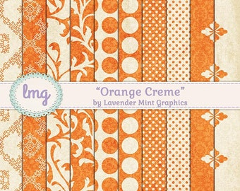 Orange Digital Paper - Orange Creme - Shabby Chic, Junk Journal Paper, Vintage Journal Paper, Journal, Floral Backgrounds, Instant Download