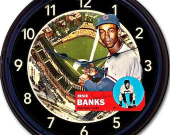 "Ernie Banks, Chicago Cubs, Wrigley Field, Baseball Card, Wall Clock, Baseball, World Series, Cubbies MLB 10"""