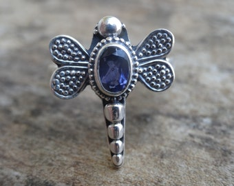 Sterling silver Dragonfly IOLITE Ring Size 6 - Sterling Silver Iolite Ring- Natural Iolite Ring - Natural Stone Ring size 6 - dragonfly ring