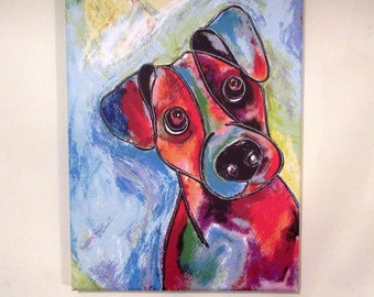 """Jack Russell. Medium canvas print from an original painting by Suzanne Patterson. 16 x 12"""". Ready to hang."""