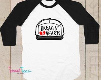 Hip Boy Shirt Breakin Hearts Boy Shirt Raglan 3/4th Sleeve Shirt Funny Toddler Youth Shirt