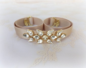 Champagne elastic waist belt. Sparkly belt. Swarovski crystals belt. Bridal belt. Bridesmaids belt. Dress belt. Nude belt. Wedding belt.
