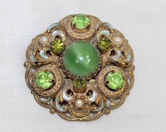 Vintage Peridot Rhinestone Faux Pearl Enamel Gold Tone Filigree Pin Brooch