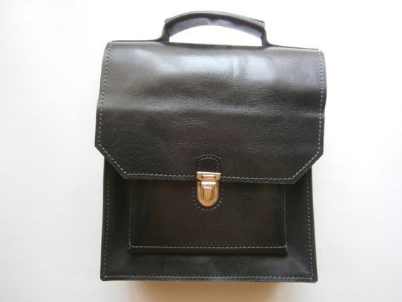 Pad Black Top Handle Bag, Black Messenger Bag, Black Leather Briefcase, Man office Bag,Unisex Briefcase, Handmade Office Bag