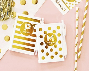 White & Gold Monogram Notebooks (set of 8) - Bridesmaids Gifts - Bridal Party Gifts - Maid of Honor - Wedding Favors