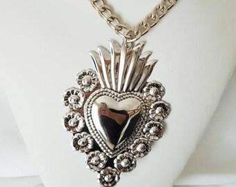 Sacred heart necklace, huge sacred heart,