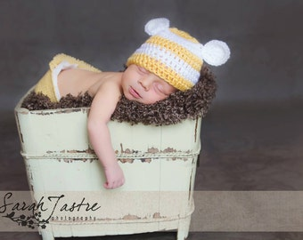 Newborn Bear Hat.. Yellow and White… Photo Prop… Ready to Ship