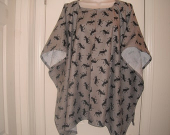 Moose print flannel bed cape/poncho