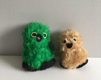 1970's handmade Owls, fake fur creations.
