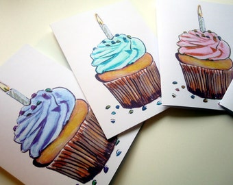 Cupcake with Candle Birthday Cards Set, Watercolor Art Birthday Greeting Cards, Set of 4