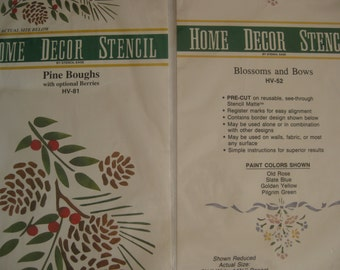 Home decor stenciles, 2 sets, Pine Boughs and Blossoms and Bows,
