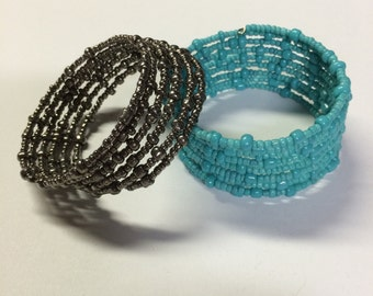 Turquoise dark silver seed bead memory wire bracelets - set of two