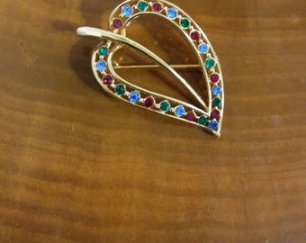 Vintage Gold Tone Leaf Brooch with Colored Rhinestones in Red, Blue, & Green