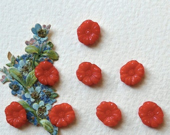 Glass buttons, realistic, diminutive, a set of 8, diminutive, vintage.  Red pressed glass flowers, 2 hole sew-thru's. c1950's.
