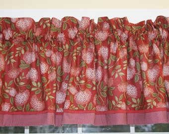 """Red White Green Floral Toile Valance 17"""" x 81""""  Can Alter Curtain Window Treatment"""
