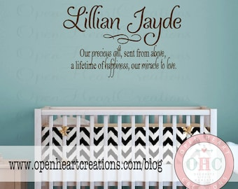 Baby Nursery Wall Sayings - Nursery Wall Quotes - Baby Name Vinyl Wall Decals BA0016  sc 1 st  Etsy & Your First Breath Took Ours Away Nursery Wall Saying
