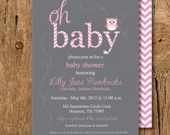 Pink Owl & Gray Baby Shower Invitations - Pink Owl Sip and See or Sprinkle Invite - Girl Owl Baby Shower Invite, Pink Owl Baby Sprinkle