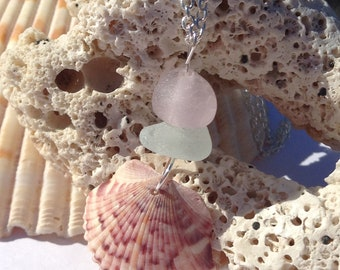 Florida Seashell and Sea Glass Pendant, Authentic Sea Glass
