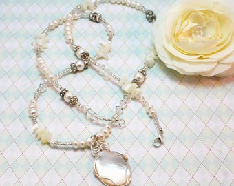 Pearl, Crystal & Mother-of-Pearl Pendant Necklace - Wedding Jewelry, Bridesmaid Jewelry