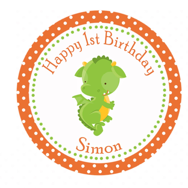 Dragon Birthday Thank You Label Orange Green Polka Dot