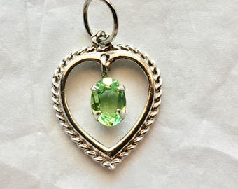 "Vintage Sterling Heart Pendant With Green Stone 7/8"" charm pendant for necklace"