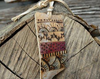 Tribal Design necklace, gourd necklace, branded gourd necklace,rustic necklace