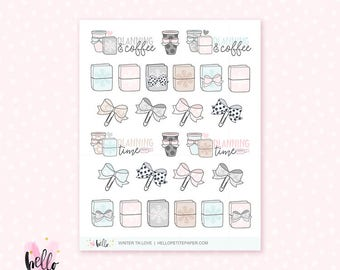 Winter TN Time - 26 cute, hand-drawn planner stickers - coffee, planning