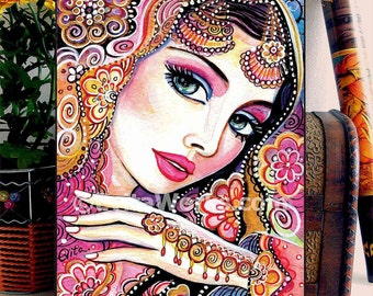 Indian Dancing Woman Indian Classical Dancer Bollywood Dance Indian woman painting home decor wall decor woman art, ACEO wood block, CG