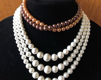 Vintage Faux Pearl Necklaces - Chocolate and  Caramel OR Snow White