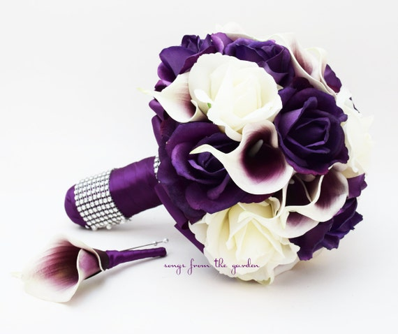 Purple & White Roses Picasso Calla Lilies Bridal Bouquet Real