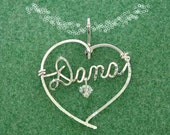 Love Those Hearts - Heart Necklace with Any Name - Sterling Silver - Wire Script