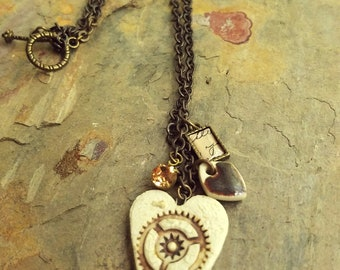Whimsical Steampunk Gear Heart Charm Necklace, Ceramic Pendant, Summer Jewelry, Minimalist Fashion