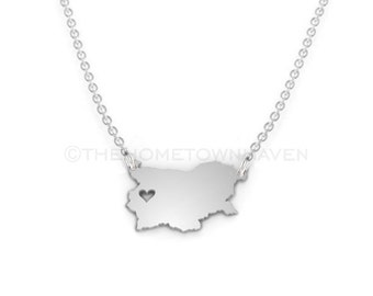 Bulgaria Necklace - Bulgaria necklace charm, Bulgaria map necklace, Bulgaria love necklace