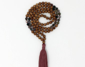 Indian Sandalwood and Agate Mala * Hand knotted * 108 mediation Mala beads