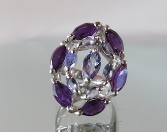 Amazing Large Solid Sterling Silver Cocktail RING with Tanzanite &Amethyst  gemstones - marked 925 -  size US 8 3/4 / diameter 18.75  mm