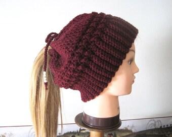 Ponytail Hat PATTERN, Crochet Ponytail Beanie PATTERN, Women's Beanie Messy Bun Hat