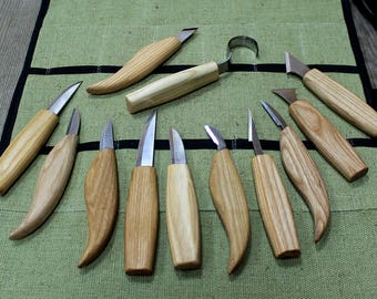 Wood carving set of 12 knives professional wood carving set wood carving tools gift set of carving knives wood carving knives carving
