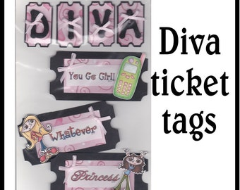 CLEARANCE SALE * Scrapbook Page Girl Diva Scrapbook Paper Layout Scrapbooking Embellishment 3d Teenage tag ticket Scrapbook Paper Piecing