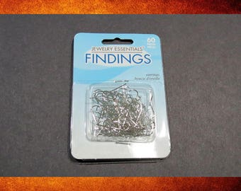Ear Wire - 60 pieces / 30 pairs of bright silver fishhook. Jewelry making supplies. #EAR-075