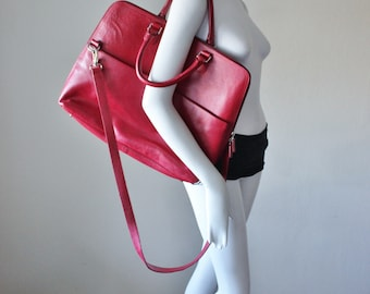 Leather bag, handpainted, vintage 1980s, red, messenger, tote, crossbody, large size, shoulder strap and carry handles