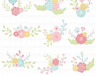 Flower corner vector - Digital Clipart - Instant Download - EPS, PNG files included