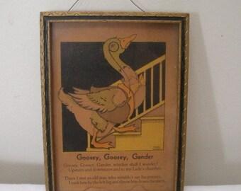 Vintage Framed Goosey Goosey Gander Poem