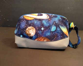 Out of this World clutch with green and blue interior gray vinyl bottom