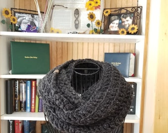 Thick and Chunky Infinity Scarf, Marie Scarf, Warm Crochet Scarf, Handmade in Wool/Acrylic yarn, in Charcoal Grey/Dark Grey